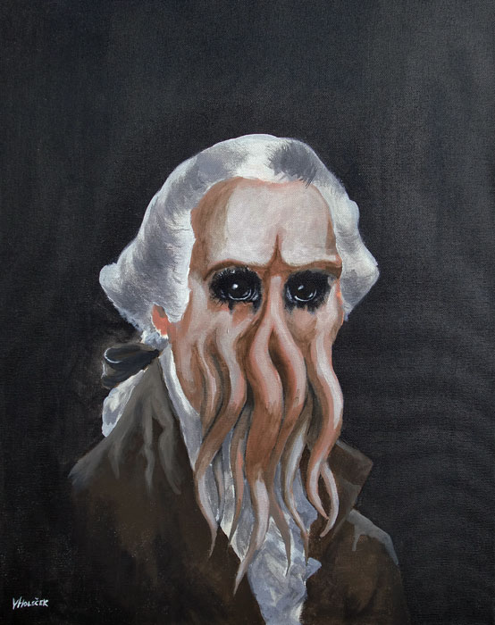 In HIs House at V'rnon, Dead Washingthulu Waits Dreaming, acrylic